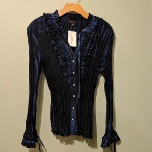 Tops - Midnight Blue Ruffled and Pleated Dress Shirt